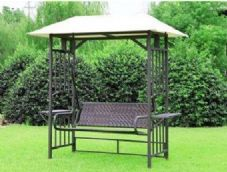 The Palma Rattan Swing Chair Gazebo